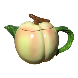 Vintage Hearth and Home Designs Ceramic Peach Shaped Tea Pot For Sale