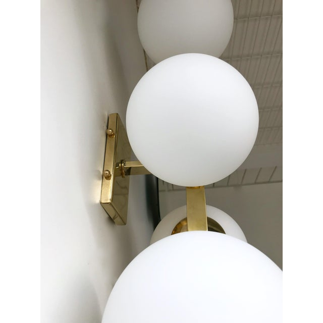Contemporary Brass Sconces Opaline Glass Ball, Italy For Sale - Image 6 of 11