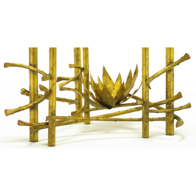 Brutalist Gilt Iron Lotus Coffee Table For Sale In Chicago - Image 6 of 8
