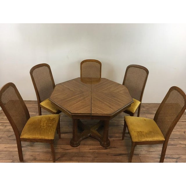 Vintage Dining Table & Cane Back Chairs For Sale In San Francisco - Image 6 of 7