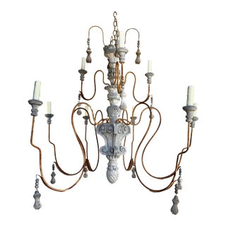 10 Light Italian Painted Wood and Metal Chandelier For Sale