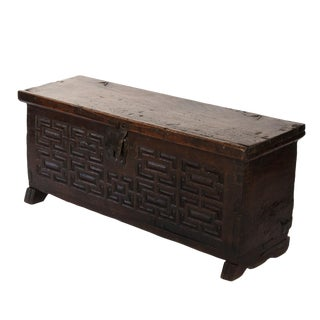 Baroque Period Spanish Walnut Coffer With Geometric Carved Front and Original Hardware; Spain, Circa 1650. For Sale