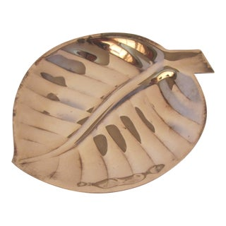 Silver-Plate Leaf Dish For Sale
