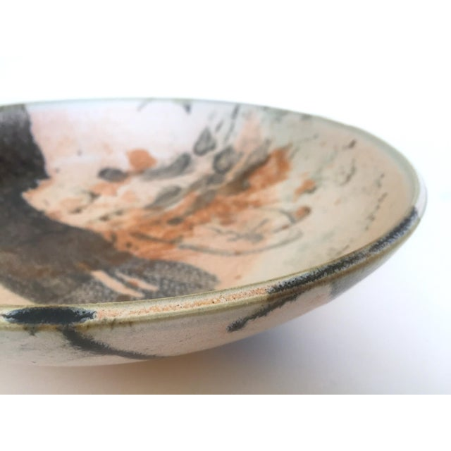 Orange Vintage Mid Century Modern Studio Pottery Abstract Expressionist Signed Ceramic Bowl For Sale - Image 8 of 13