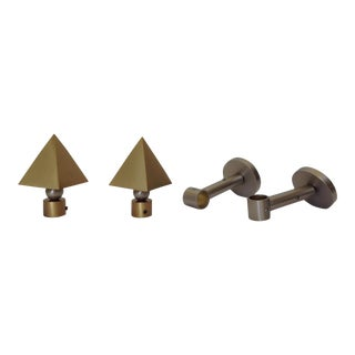 German Brushed Brass & Nickel Drapery Hardware - Set of 4 For Sale