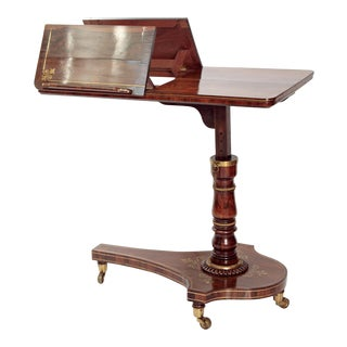 Dual Reading Stand / Adjustable Bed Table of Rosewood with Brass Inlay