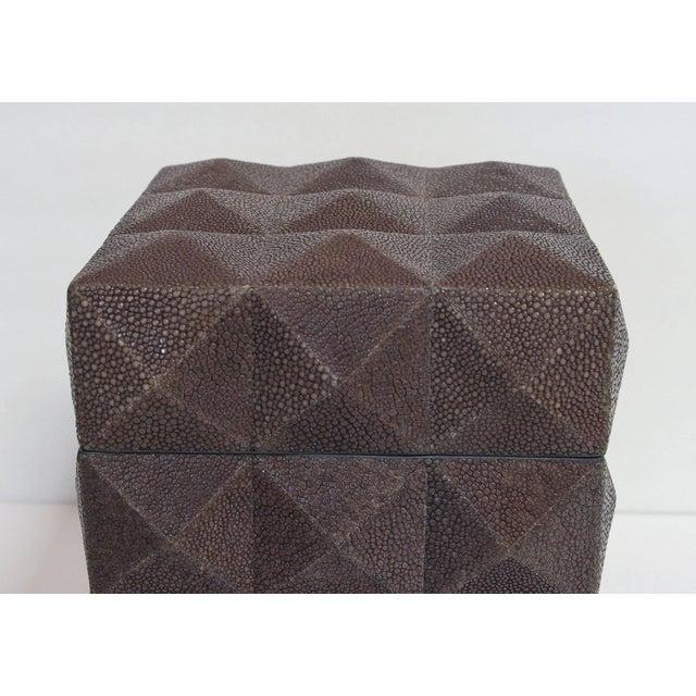 Italian Pyramid Gray Shagreen Box by Fabio Ltd For Sale - Image 3 of 8