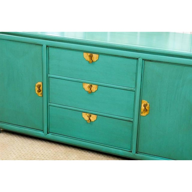 1960s Fabulous Vintage Buffet by Thomasville in Turquoise Lacquer For Sale - Image 5 of 11