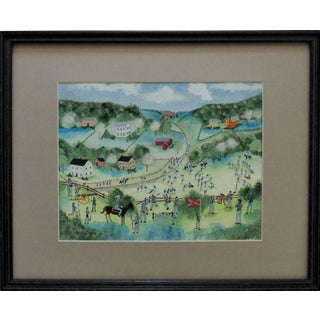 1980s C. (Charles) Munro Confederate Soldiers Civil War Folk Art Signed Watercolor Painting For Sale