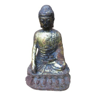Rustic Cast Iron Seated Buddha For Sale