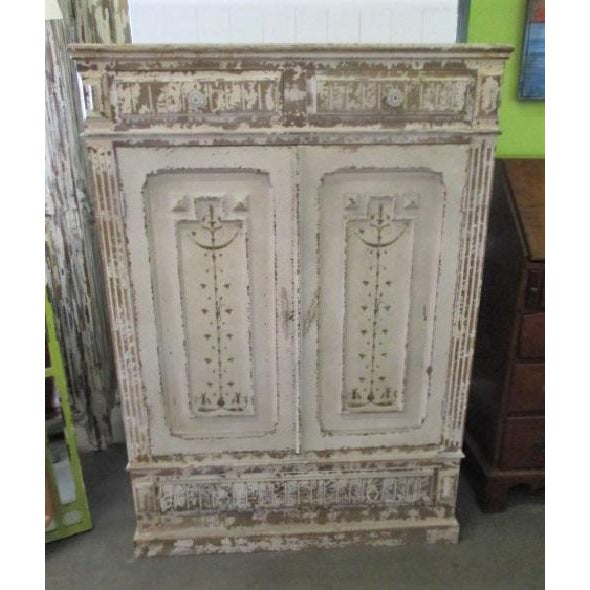 Storage Cabinet White Shabby Chic Sweetish Style Cupboard For Sale In San Diego - Image 6 of 6