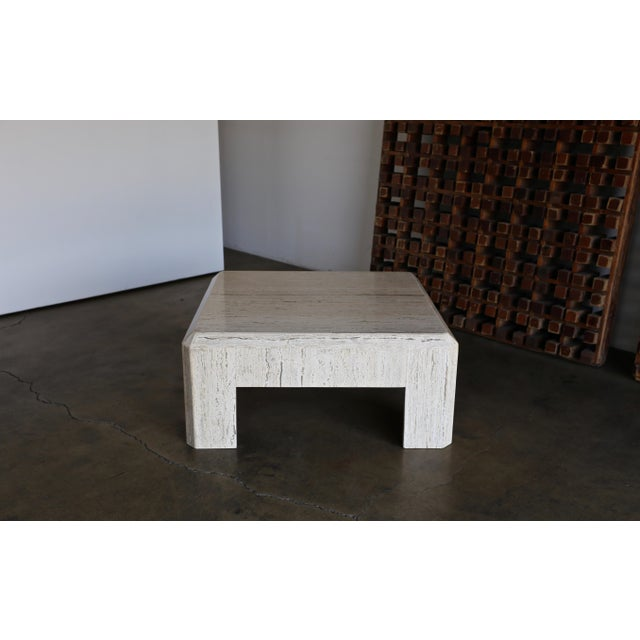 1980s Vintage Modernist Travertine Coffee Table For Sale - Image 4 of 10