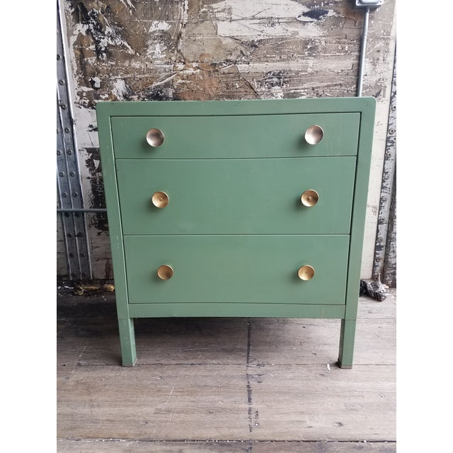 Pistachio 1930s Vintage Simmons Company Furniture 3-Drawer Steel Chest of Drawers For Sale - Image 8 of 8