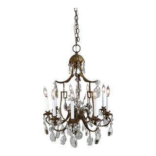 1930 French Gilt Tole & Crystal Chandelier