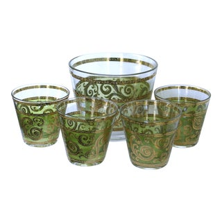 Culver Toledo Ice-Bucket W/ 4 Lowball Glasses- Set of 5 For Sale