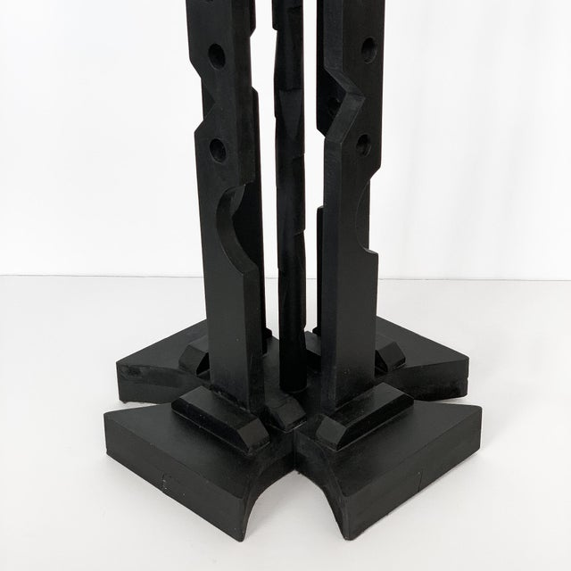 Mid-Century Modern Black Painted Wood Assemblage Floor Lamp For Sale - Image 12 of 13