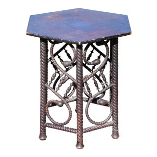 Antique Arts & Crafts Barley Twist Stick & Ball Hexagon Taboret Table Plant Stand For Sale