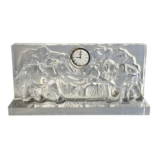 Baccarat Crystal Elephant Mantel Clock For Sale