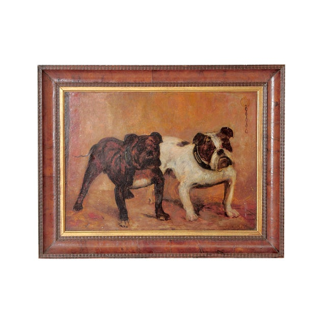 Small Oil Painting on Board of Dogs For Sale