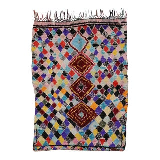 Azilal Vintage Berber Moroccan Rug with Boho Chic Tribal Style For Sale