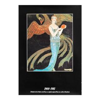 1981 French Fashion Poster, Histoire De La Mode Et Du Tissu, Georges Barbier For Sale