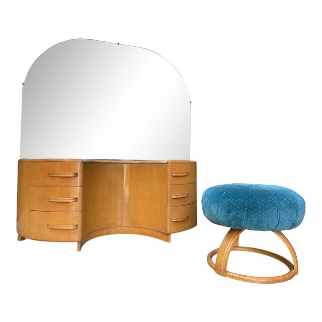 Heywood WakeField Curved Vanity & Matching Stool - 2 Pieces For Sale