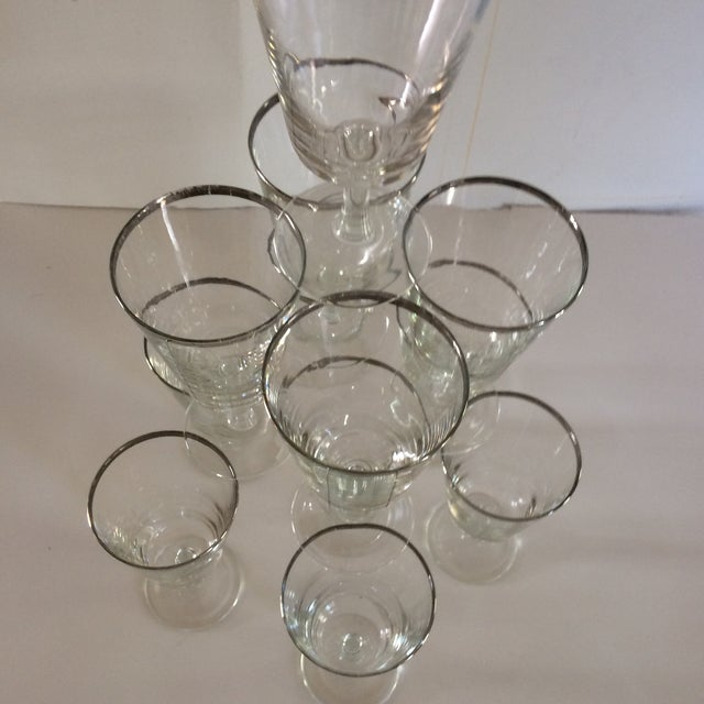 French Platinum Rim Crystal Cocktail /Water Glasses - Set of 12 For Sale In Sacramento - Image 6 of 11
