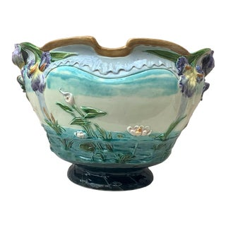19th-Century Monumental Majolica Jardinière With Iris Luneville For Sale