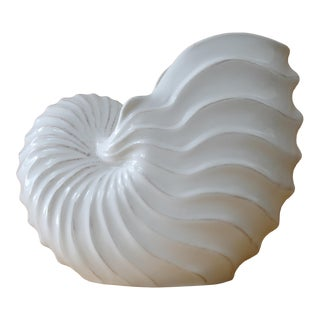 White Nautilus Seashell Vase For Sale