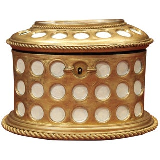 "Charles X Gilt and Mosaic Jewelry Box, Signed ""Tahan, Paris"" For Sale"