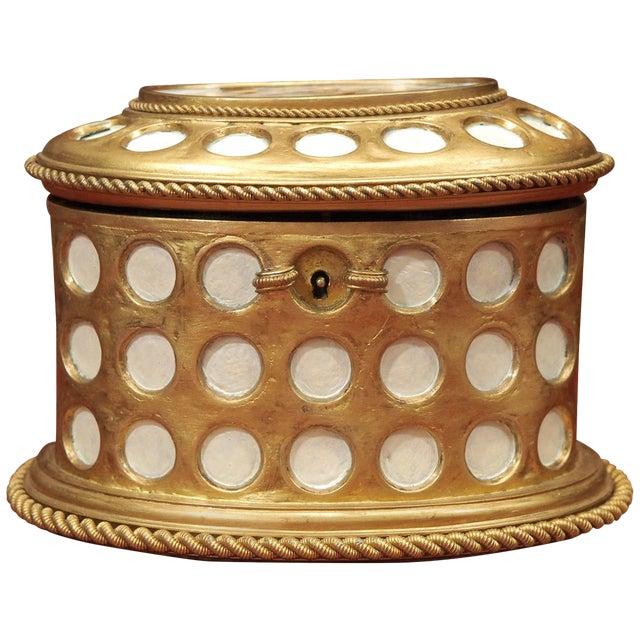"""Charles X Gilt and Mosaic Jewelry Box, Signed """"Tahan, Paris"""" For Sale"""