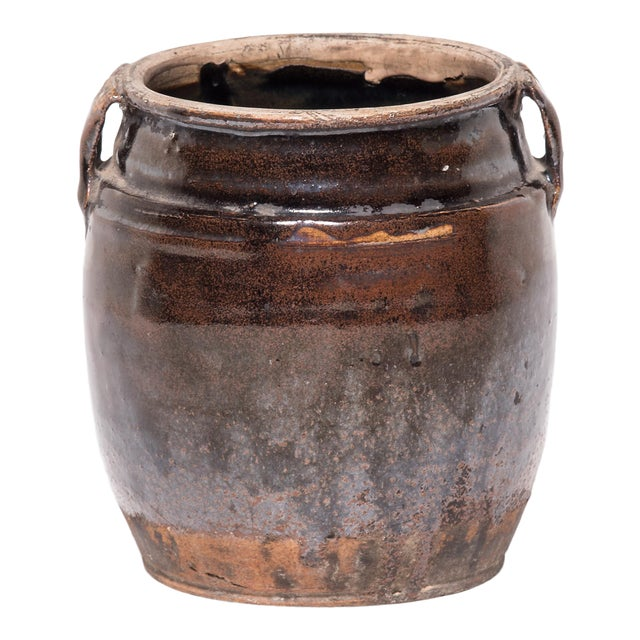 Late 19th C. Chinese Glazed Kitchen Jar For Sale