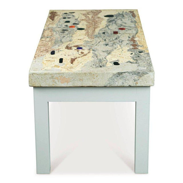 1950s Rose, Pink and Grey Marbleized Concrete Coffee Table, Italy, Circa 1950 For Sale - Image 5 of 11