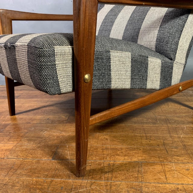 Mid-Century Modern 1960s Scandinavian Striped-Wool & Walnut Lounge Chair For Sale - Image 3 of 9