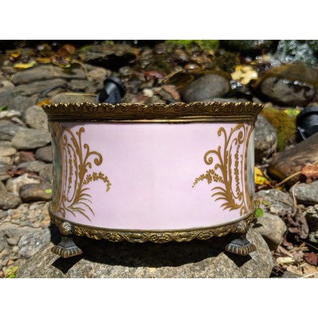 Rose 1800s Sevres-Style Rose Pompadour Porcelain Gilded Bronze Trim Oval Cachepot For Sale - Image 8 of 13