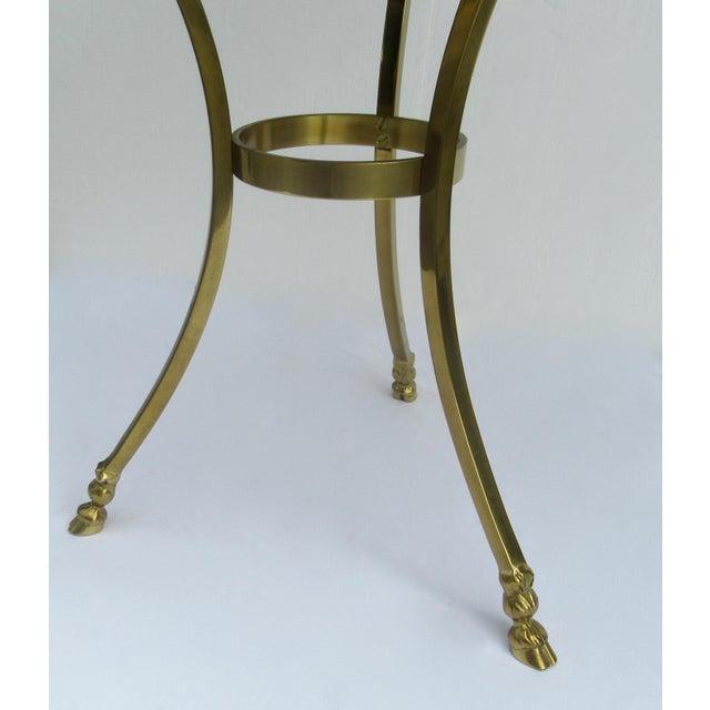 Vintage LaBarge Regency Brass Hoofed & Bronze Glass Gueridon Table For Sale - Image 11 of 13