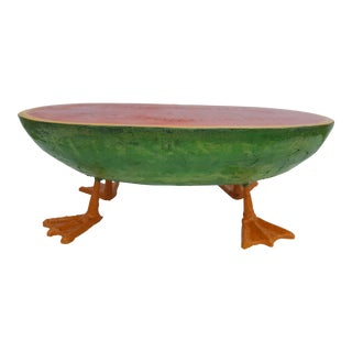 Sculptural Art Handmade Watermelon With Duck Feet Coffee Table For Sale
