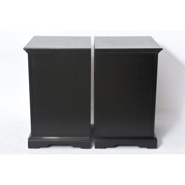 Black Pair of American Modern Black Lacquer Cabinets For Sale - Image 8 of 8