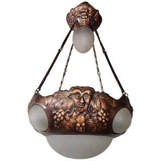 1910s Swedish Arts and Crafts Hammered Copper Hanging Fixture #18 For Sale