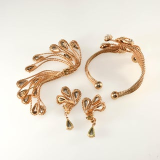 1960s Vintage Napier Hand Manipulated Wire Bracelet Brooch Earrings Set Preview
