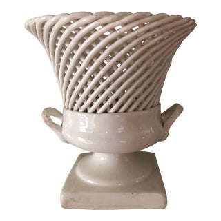 Early 20th Century Antique Creamware Pottery Ceramic Basket Weave Urn For Sale