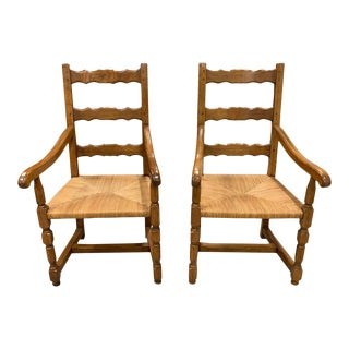 1910s Vintage French Louis Philippe Rush Seat Solid Walnut Accent Chairs or Bergere Chairs - a Pair For Sale