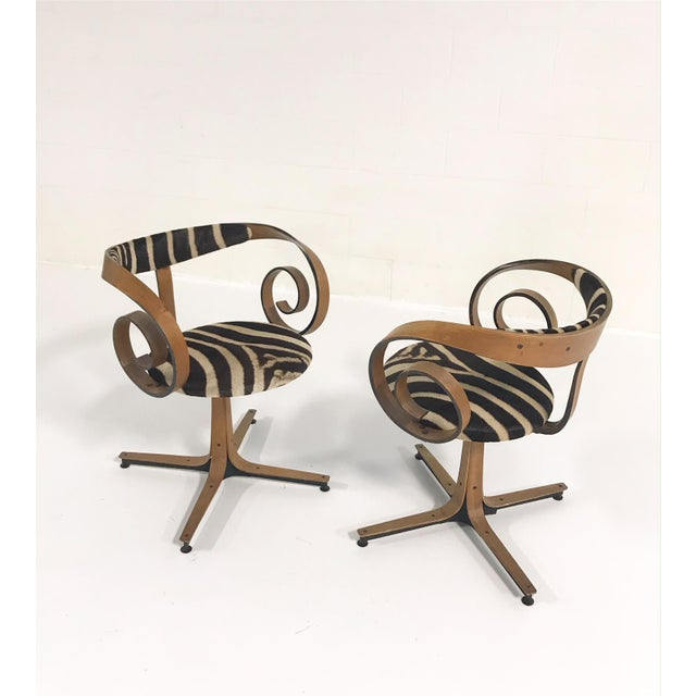 1960s George Mulhauser for Plycraft Sultana Chairs Restored in Zebra Hide - Pair For Sale - Image 5 of 11