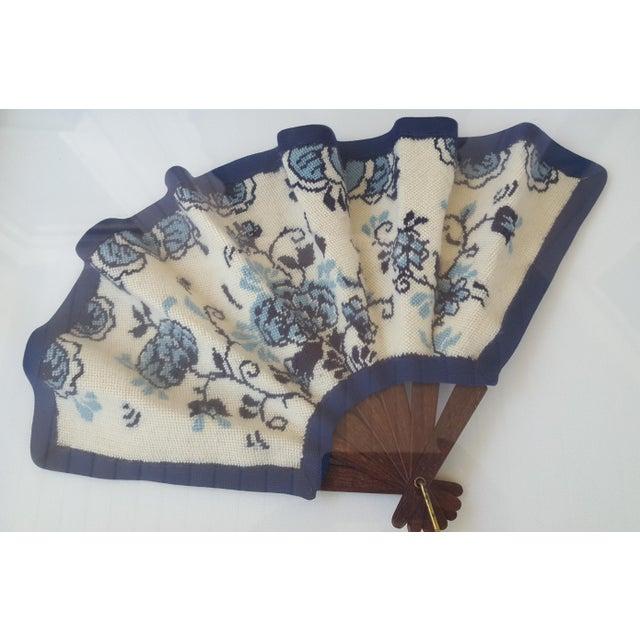 Framed Antique Floral Needlepoint Hand Fan - Image 3 of 7
