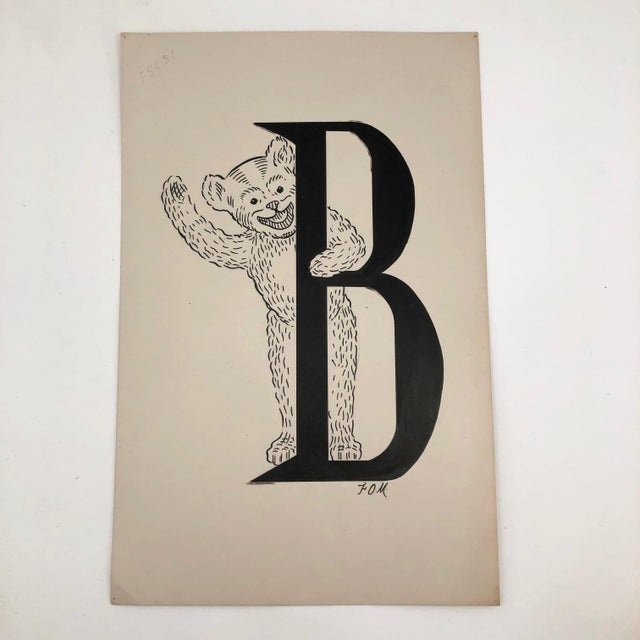 B for Bear Original Alphabet Ink Drawing For Sale - Image 4 of 5