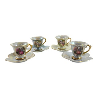 Luster Leaf Cups & Saucers - Set of 4