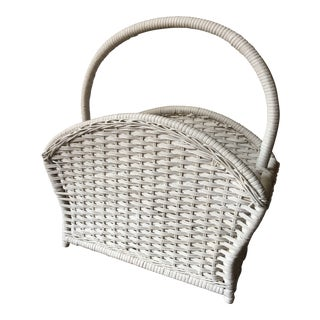 1960s VintageWhite Wicker Rounded Magazine Rack For Sale