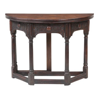 19th Century English Fliptop Demi Lune Table For Sale