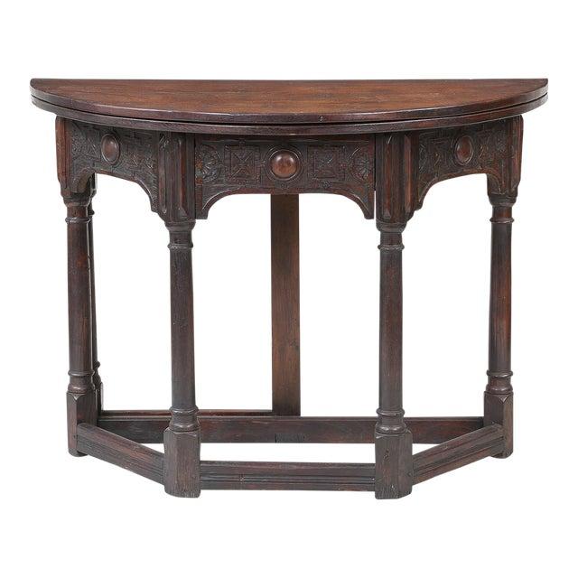 19th Century Vintage English Fliptop Demi Lune Table For Sale