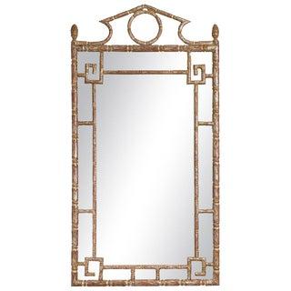 Italian Silver Leaf Greek Key Mirror For Sale